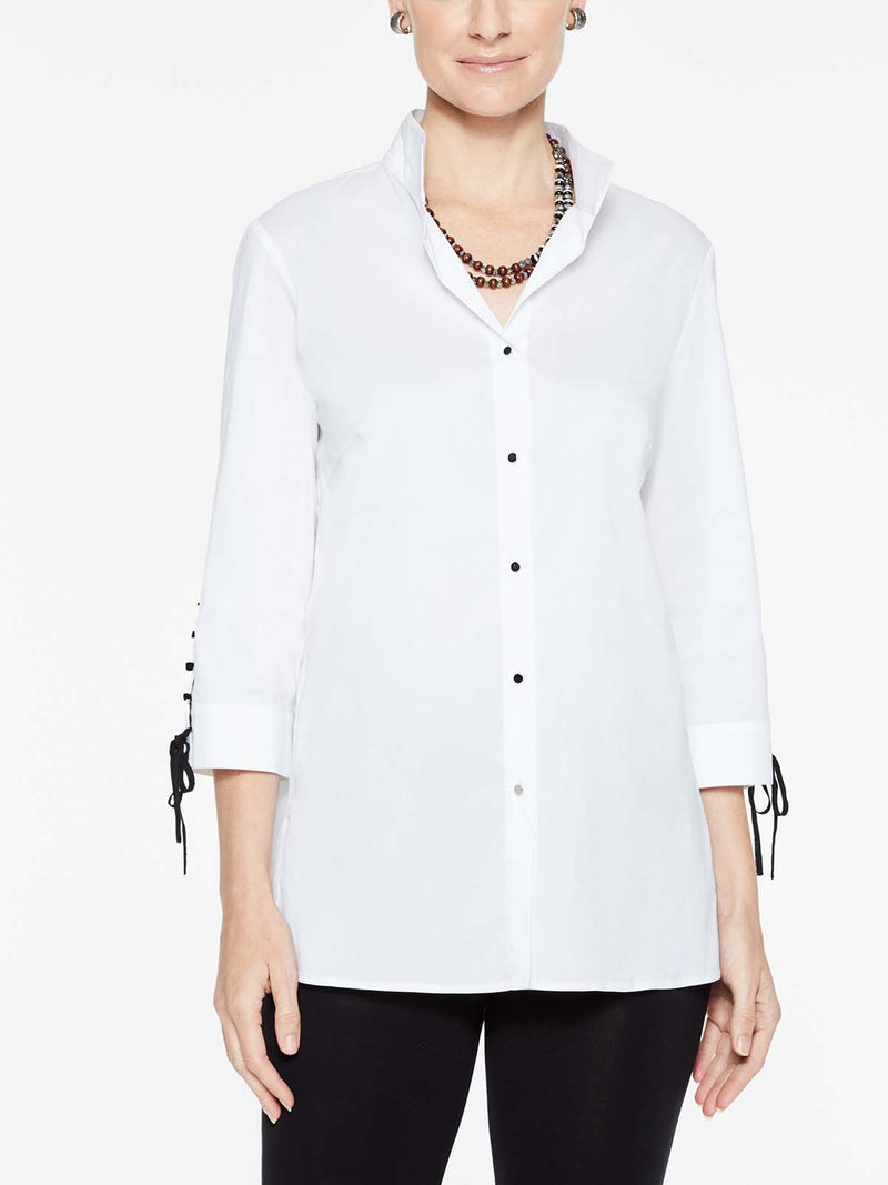 Cotton Blouse with Laced Cuffs Color White/Black