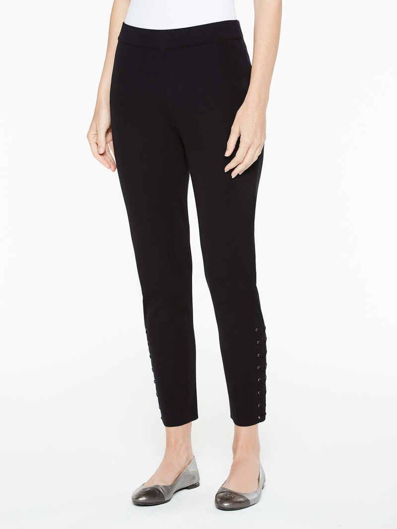 Knit Pant with Laced Trim Color Black