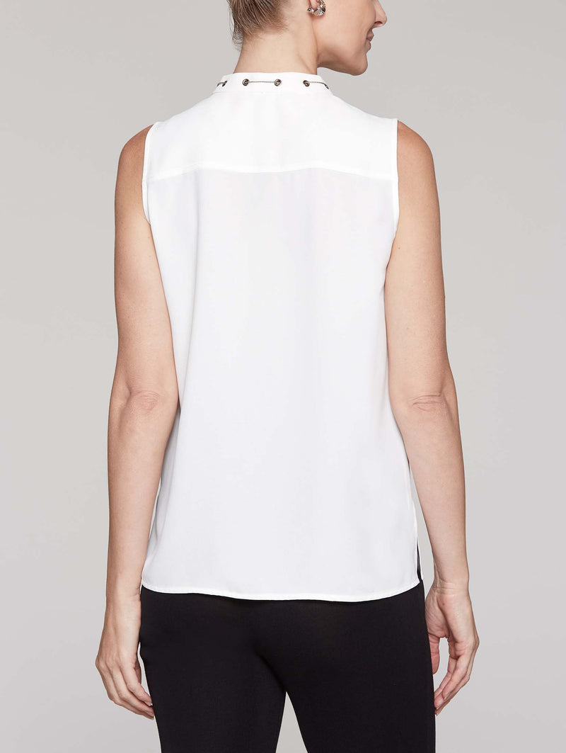 Crepe de Chine Tank With Chain Detail Color White