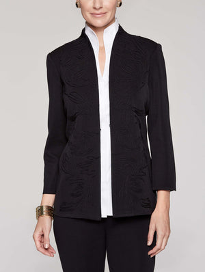 Embroidered Panel Jacket Color Black