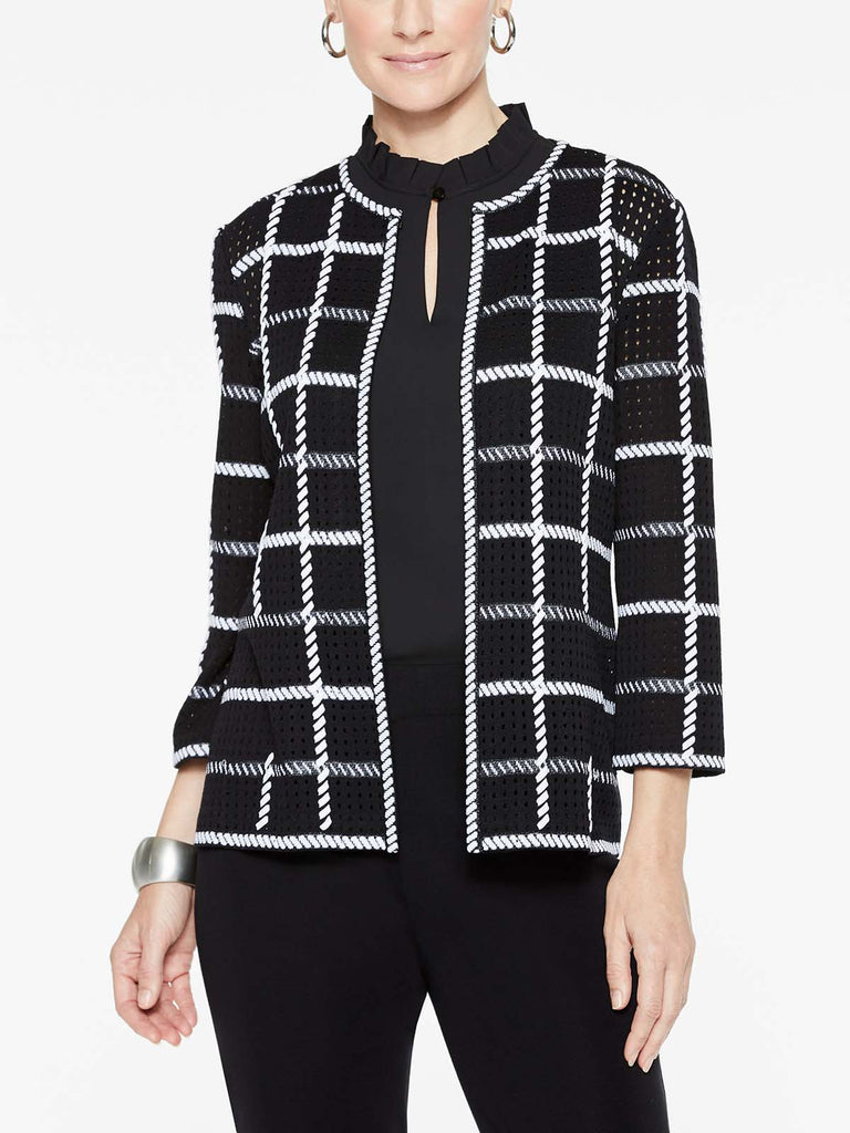 Loop Stitch Checkered Jacket Color Black/White