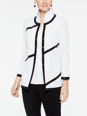 Plus Size Piped and Stud Trim Jacket, White