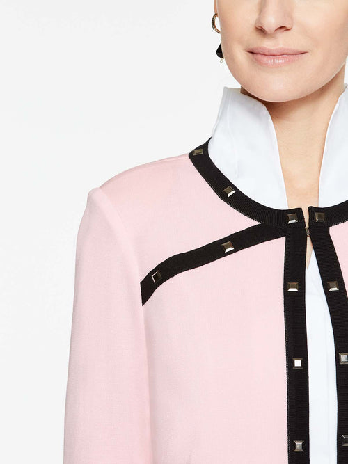 Piped and Stud Trim Jacket Color Sugar Pink/Black