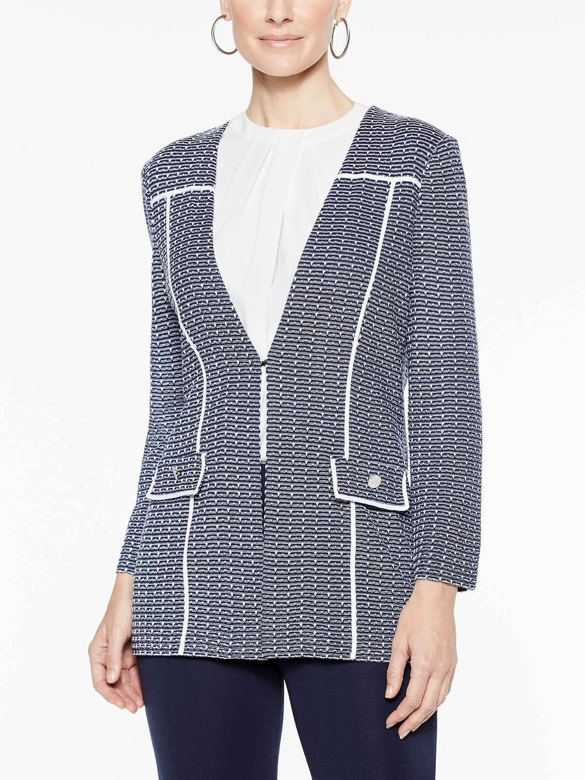 Spectator Trimmed Jacket Color Indigo/White