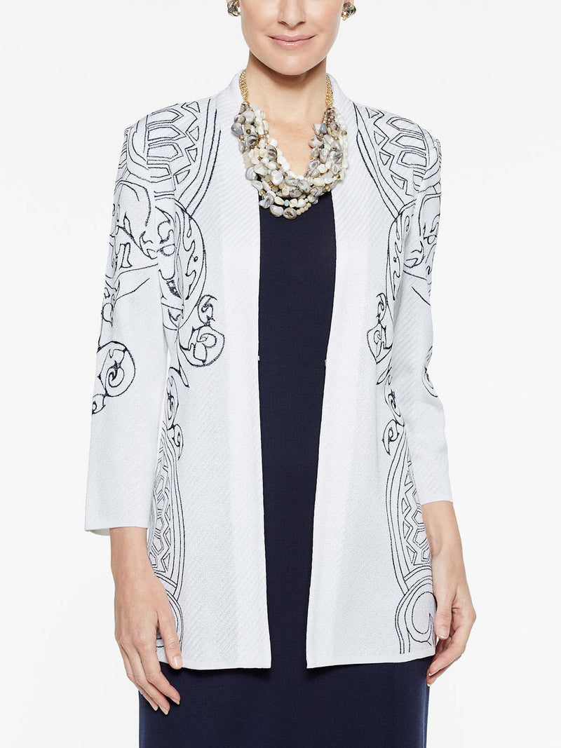 Embroidery Accent Jacket Color White/Indigo