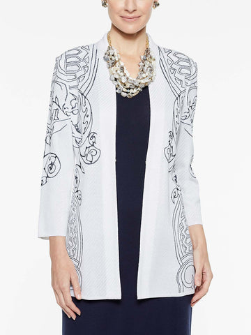Plus Size Embroidery Accent Jacket