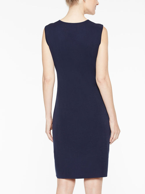 Sleeveless Sheath Knit Dress, Indigo