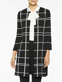 Graphic Plaid Knit Topper, Black