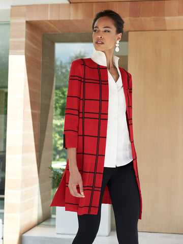 Graphic Plaid Knit Topper, Red