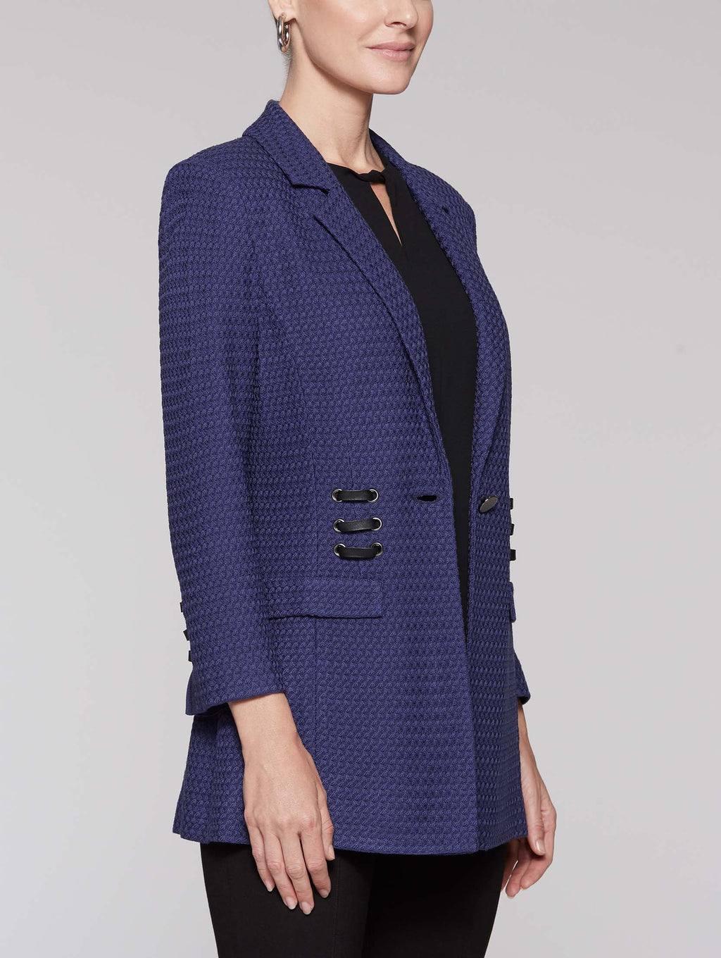 Blazer with Faux Leather Lacing Color Mazarine Blue
