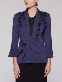 Suede Flower Lurex Jacket Color Black/Mazarine