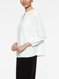 Applique Blouse Color White