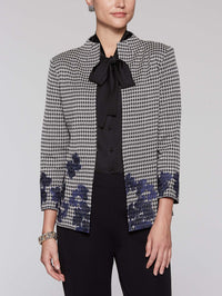 Houndstooth and Embroidery Jacket Color Linen/Black/Mazarine