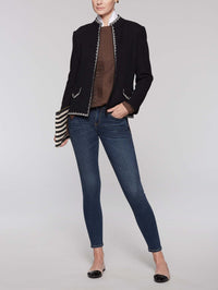 Mandarin Collar Texture Jacket Color Black/Linen