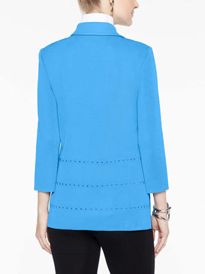 Polished Stud Detail Jacket Color China Blue