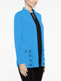 Mandarin Grommet Jacket Color China Blue