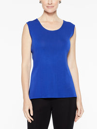 Plus Size Classic Knit Tank Top, Blue Flame