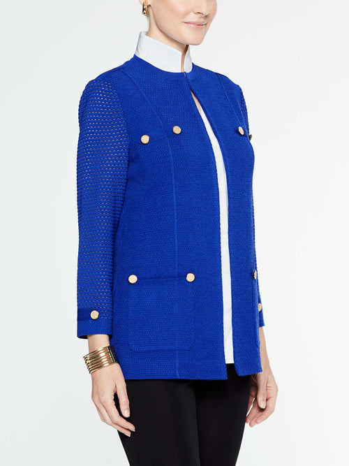 Petite Gold Button Detail Jacket in Blue Flame