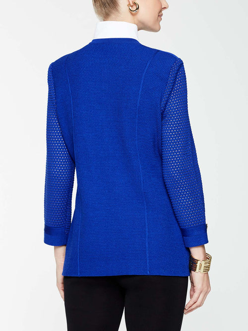 Gold Button Detail Jacket in Color Blue Flame