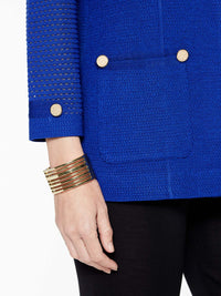 Gold Button Detail Jacket in Color Blue Flame Premium Detail