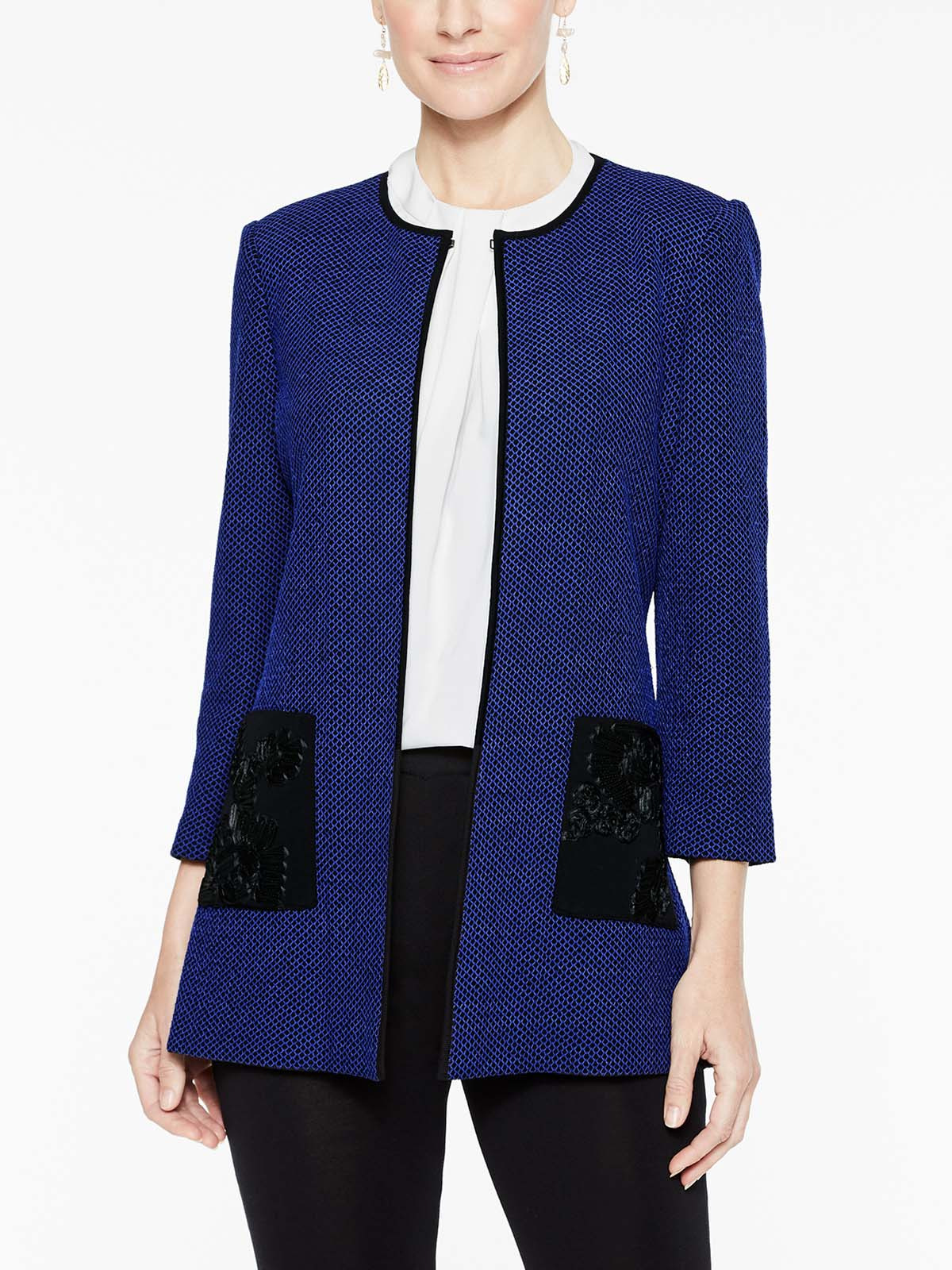 Floral Applique Pocket Jacket Color Black/Blue Flame
