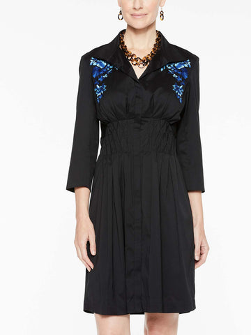 Floral Embroidered Smock Waist Dress