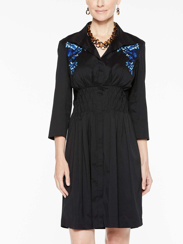 Floral Embroidered Smock Waist Dress Color Black/Blue Flame