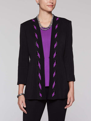 Contrast Trim and Grommet Jacket