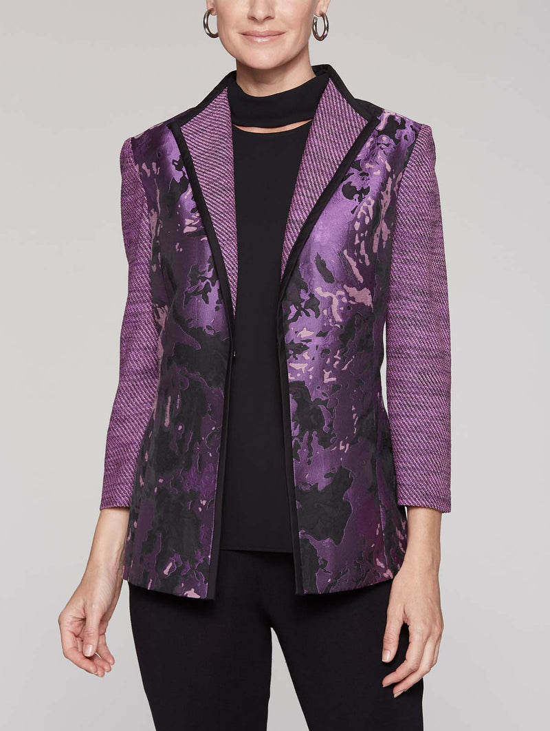 Floral Woven Knit Sleeve Jacket