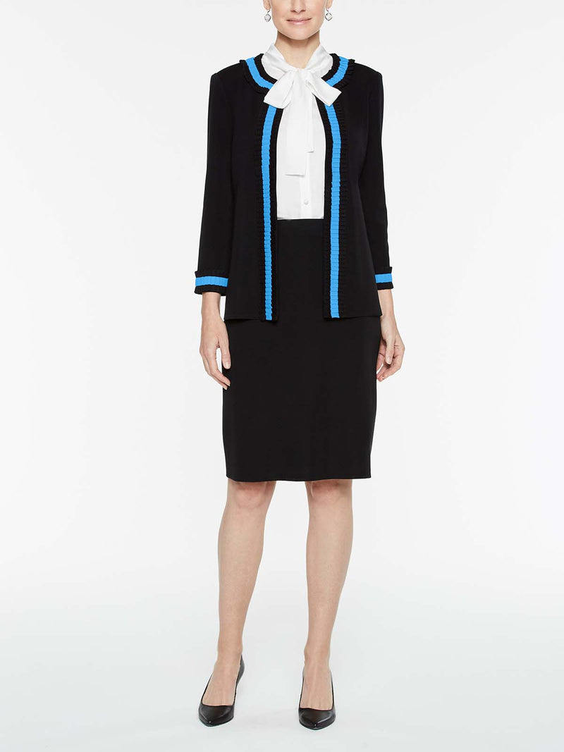 Pleated Contrast Trim Jacket Color Black/China Blue