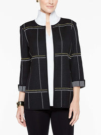 Dashed Subtle Plaid Jacket Color Black/Lemon Yellow/White