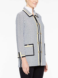 Dual Trim Honeycomb Jacket in Color White/Black/Lemon Yellow