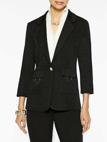 Patch Pocket Knit Jacket, Black