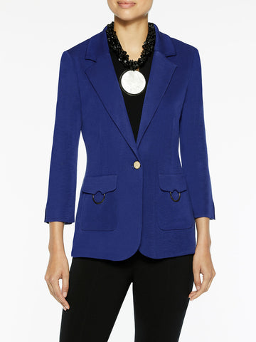 Patch Pocket Knit Jacket, Blue Flame
