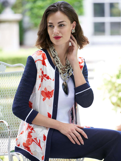 Placed Pattern Cardigan Color Tangier Orange/Almond Beige/White