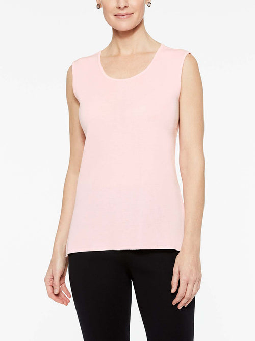 Sugar Pink Classic Knit Scoop Neck Tank Top Color Sugar Pink