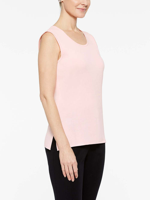 Sugar Pink Classic Knit Scoop Neck Tank Top Color Sugar Pink Premium Details
