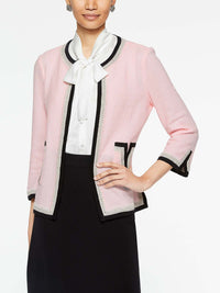 Crochet V-Pocket Jacket Color Sugar Pink/Black/Grey