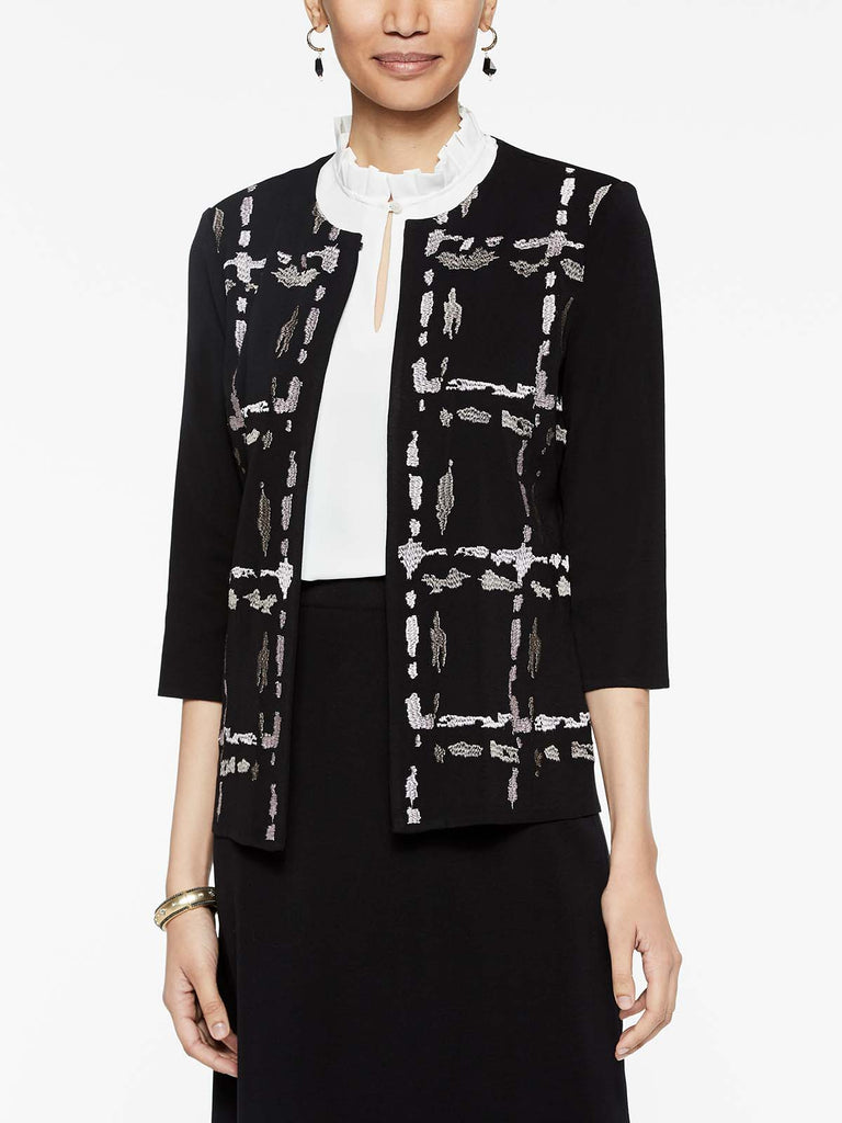 Abstract Grid Embroidery Jacket Color Black/Grey/Sugar Pink