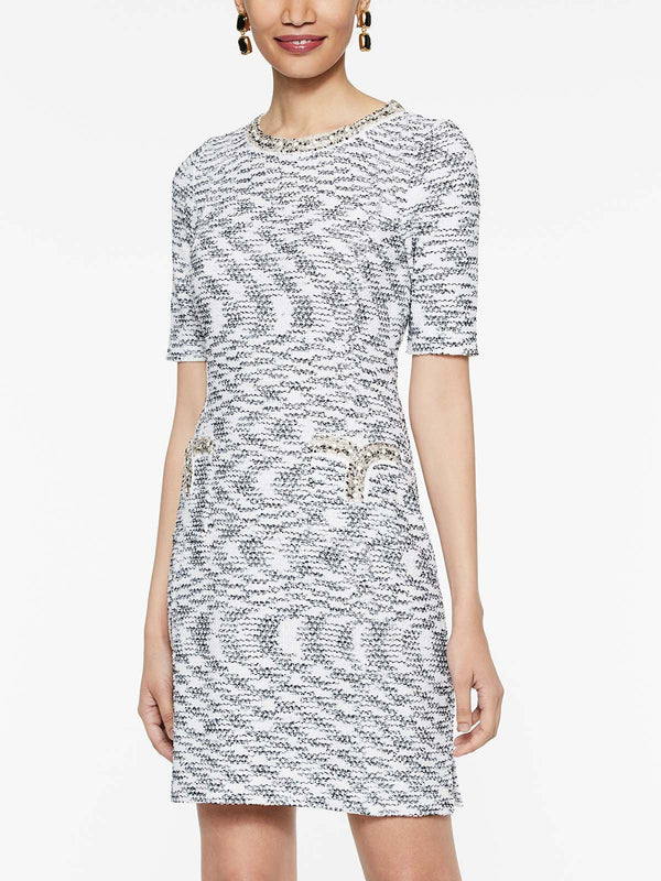 Pearl Trim Tweed Dress Color White/Black