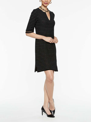Tweed Grommet Trim Dress Color Black/White
