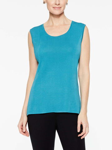 Plus Size Peacock Blue Classic Knit Scoop Neck Tank Top