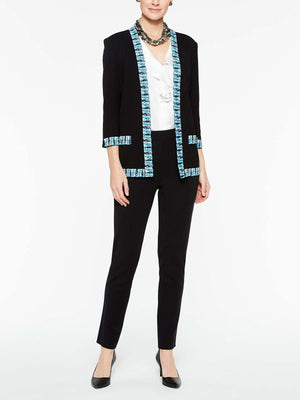 Plaid Trim Cardigan Jacket Color Black/Peacock Blue/White