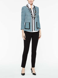 Digital Rib Stitch Jacket Color Peacock Blue/Black/White