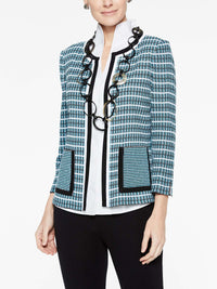 Digital Rib Stitch Jacket Color Black/Peacock Blue/White