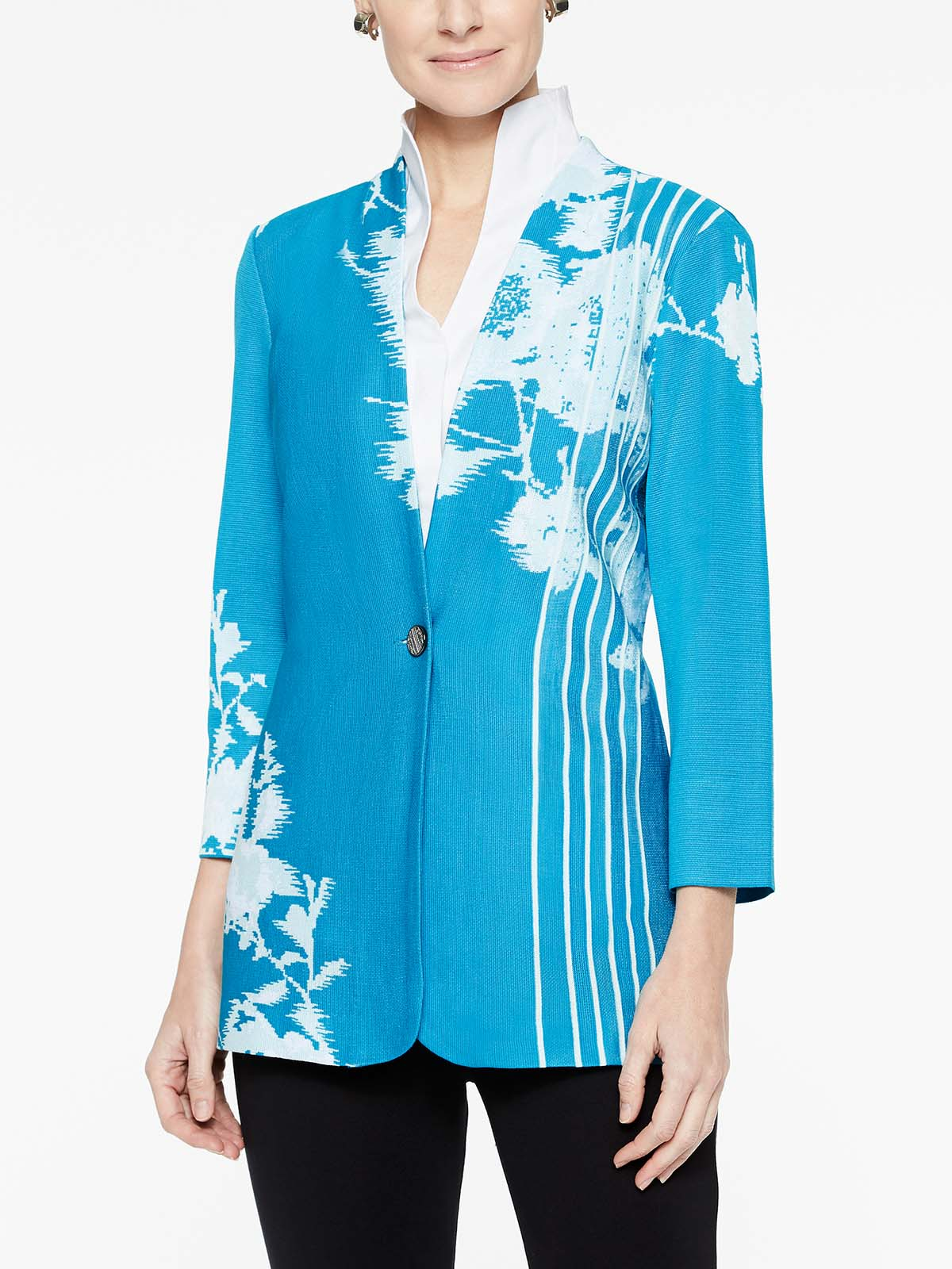 Floral Lines Jacquard Jacket Color Peacock Blue/Sea Glass Blue/White