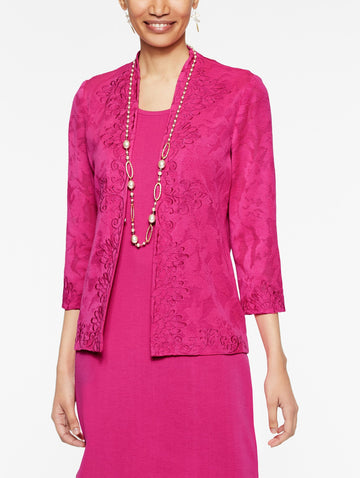 Plus Size Sheer Floral Pattern and Embroidery Jacket