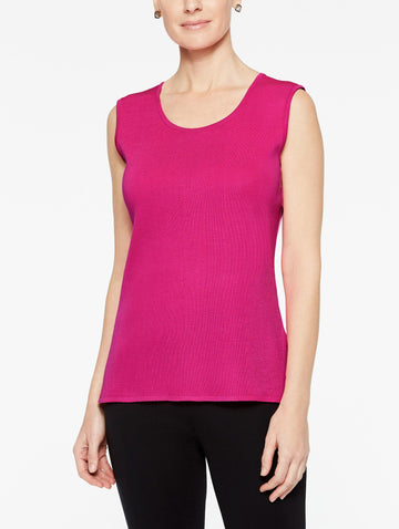 Plus Size Primrose Pink Classic Knit Scoop Neck Tank Top