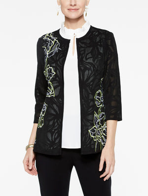 Sheer Pattern Embroidery Jacket