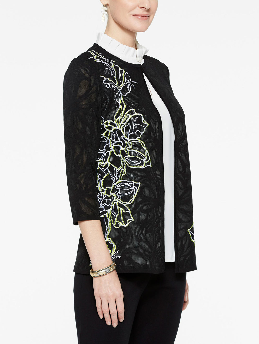 Plus Size Sheer Pattern Embroidery Jacket